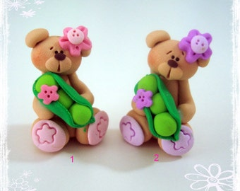 SALE Bear with Sweet Pea Polymer Clay Charm Bead Scrapbooking Bow Center