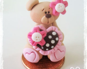 Bear with Dotted Heart Polymer Clay Charm Bead, Scrapbooking, Bow Center, Pendant, Cupcake topper, Magnet