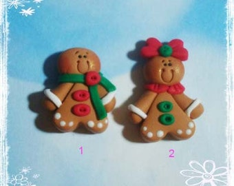 Gingerbread Girl Polymer Clay Charm Bead, Scrapbooking, Bow Center, Pendant, Cupcake topper, Magnet, Ring