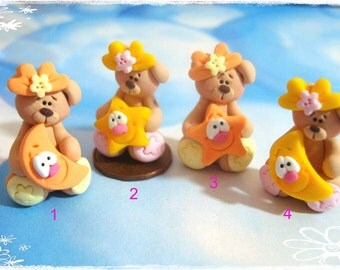 Bear with Star and Moon Polymer Clay Charm Bead, Scrapbooking, Bow Center, Pendant, Cupcake topper, Magnet