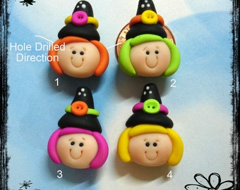 Witch Girl Polymer Clay Charm Bead, Scrapbooking, Bow Center, Pendant, Cupcake topper, Magnet