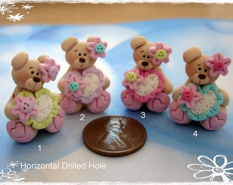 Bear wt Spakly Heart Polymer Clay Charm Bead, Scrapbooking, Bow Center, Pendant, Cupcake topper, Magnet