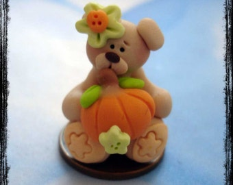 Bear wt Pumpkin Polymer Clay Charm Bead, Scrapbooking, Bow Center, Pendant, Cupcake topper, Magnet, Ring