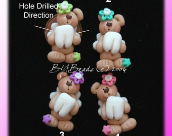 Tooth Fairy Bear Polymer Clay Charm Bead Scrapbooking Embelishment Bow Center Pendant