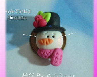 Snowman Polymer Clay Charm Bead, Scrapbooking, Bow Center, Pendant, Cupcake topper, Magnet