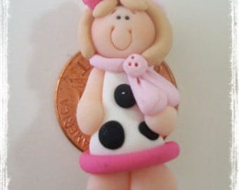 Cute Moo Girl Polymer Clay Charm Bead Scrapbooking Embelishment Bow Center Pendant Cake Topper