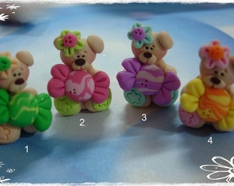 Bear wt Sparkly Candy Polymer Clay Charm Bead, Scrapbooking, Bow Center, Pendant, Cupcake topper, Magnet, Ring