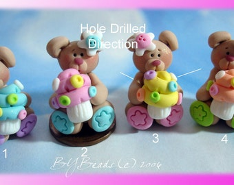 Bear wt Cupcake Polymer Clay Charm Bead, Scrapbooking, Bow Center, Pendant, Cupcake topper, Magnet, Ring