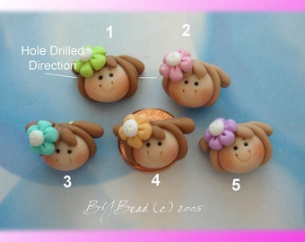 Girl wt Flower Clip Polymer Clay Charm Bead Scrapbooking Embelishment Bow Center Pendant Cupcake Topper