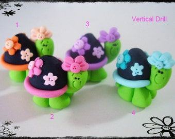 Turtle wt Flower Polymer Clay Charm Bead, Scrapbooking, Bow Center, Pendant, Cupcake topper, Magnet, Ring