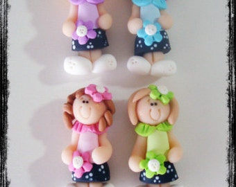 Dress up School Girl Polymer Clay Charm Bead, Scrapbooking, Bow Center, Pendant, Cupcake topper, Magnet