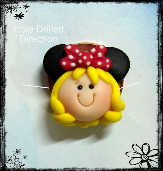 MInnie Girl Polymer Clay Charm Bead, Scrapbooking, Bow Center, Pendant, Cupcake topper, Magnet