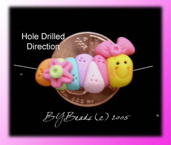 Caterpillar Polymer Clay Charm Bead Scrapbooking Embelishment Bow Center Pendant