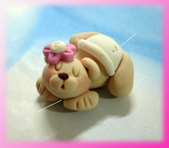 Bear in Diaper Polymer Clay Charm Bead, Scrapbooking, Bow Center, Pendant, Cupcake topper, Magnet, Ring