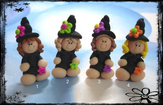 Halloween Witch Girl Polymer Clay Charm Bead, Scrapbooking, Bow Center, Pendant, Cupcake topper, Magnet, Ring