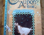 "OOAK altered art Victorian book hidden treasure box lady on moon assemblage folkart ""DREAM"" dragonfly butterfly shakespeare aqua / teal FAAP"