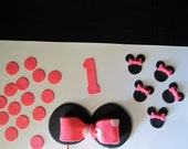 """Minnie Mouse Inspired Fondant Cake Toppers for 5-6"""" Smash Cake"""