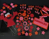 Girls Elmo Inspired Fondant Cake Toppers Complete Set  For Sheet or 2 Tier Cake