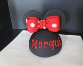 Minnie Mouse Inspired Dome Head, Ears & Bow Fondant Cake Topper