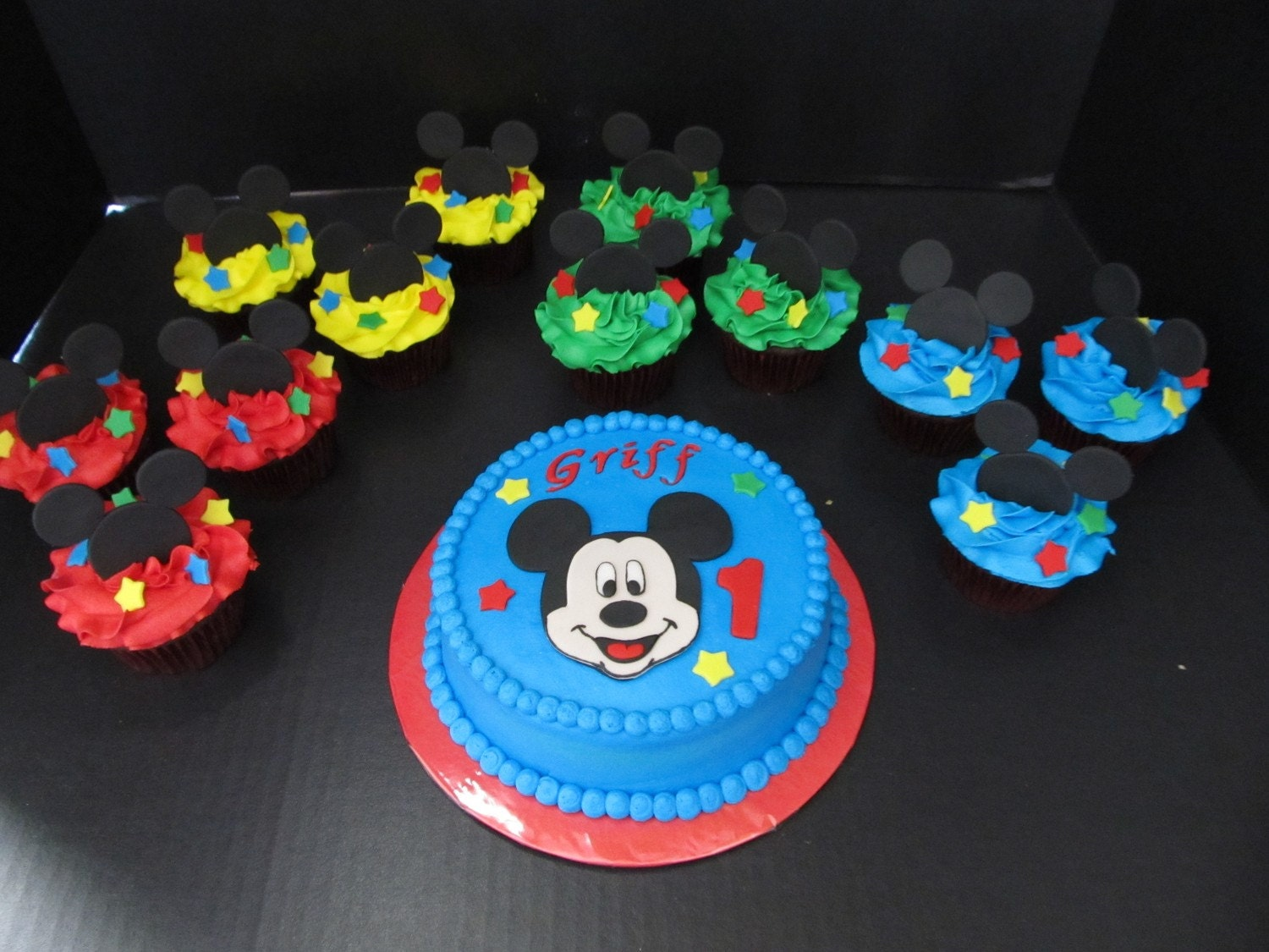 Mickey Mouse Inspired Fondant Cake Topper Set by 1STOPPARTY