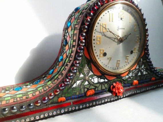 Glass Mosaic Antique Decorative Mantel Parlor Clock