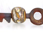 Handmade Lampwork Bead Skeleton Key Caramel Apple Cinnamon Silver Glass Silvered Ivory -- A Universe Made Up of One
