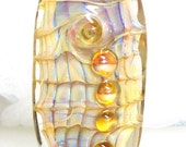 Handmade Lampwork Bead Silver Glass Amber Topaz Gold Green Mother of Pearl Seashell  -- Down to the Mermaid Cafe