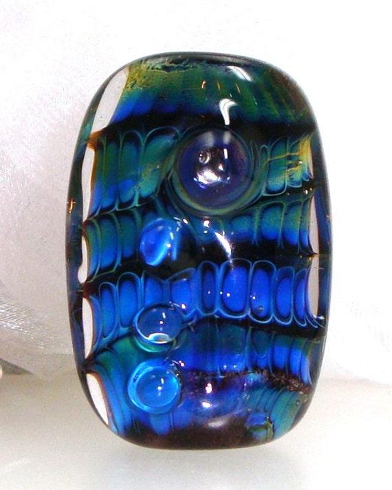 Handmade Lampwork Bead Silver Glass Blue Violet Indigo Purple Teal Green Aquamarine  Focal -- Raised by a River