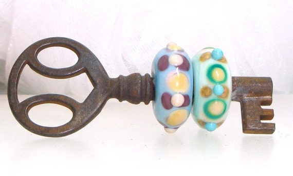 Handmade Lampwork Beaded Skeleton Key Mint Violet Pink Opal Yellow Sky Blue Aqua Glass Dots -- Something New to Hold