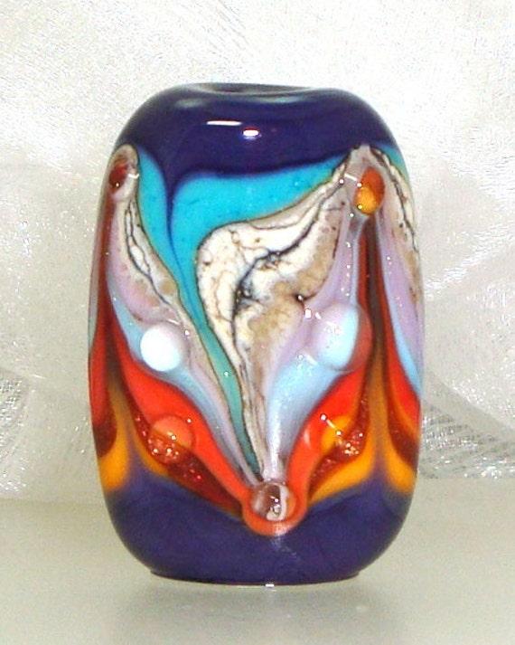 Handmade Lampwork Bead Purple Red Orange Turquoise Aqua Lavender Lilac Silvered Ivory Goldstone Dichro -- Fire and Rain