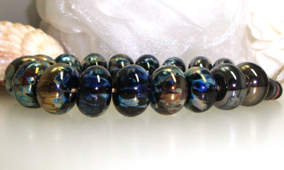 Handmade Lampwork Glass Bead Set Silver Glass Metallic Black Copper Green Blue Amber Iris Gold -- I am the Storm King Now