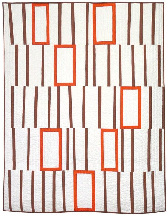 Modern Quilt - Empty Boxes (Tangerine)