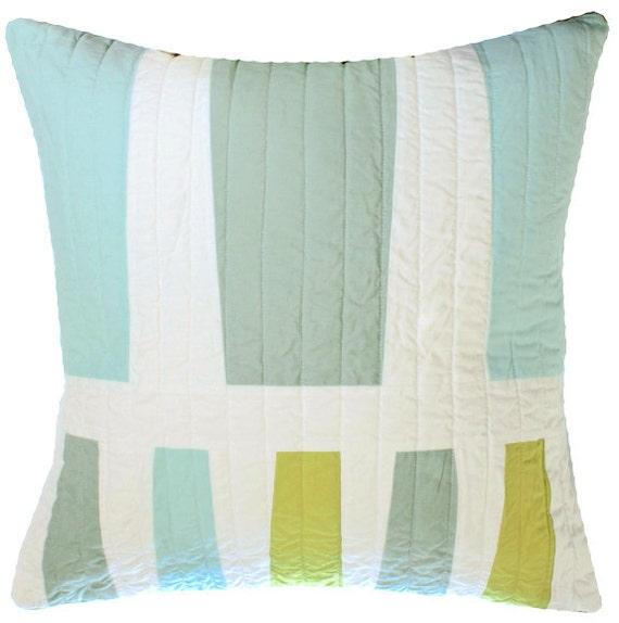 STUDIO SALE Modern Throw Pillow - Blue / Green, Too