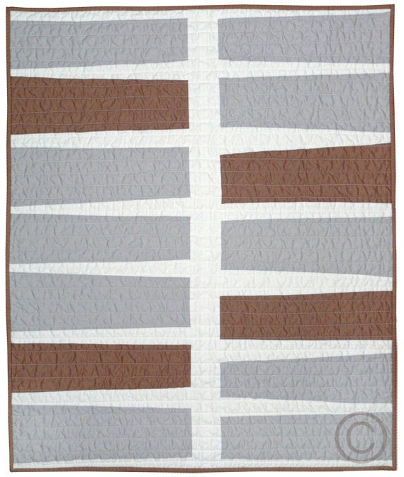 Contemporary Baby Quilt - Earth & Grey