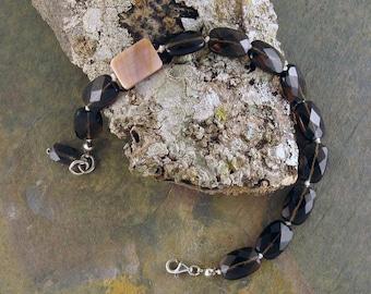 Smoky Topaz Bracelet, Silk Bracelet, Mother of Pearl Bracelet, Gemstone Bracelet