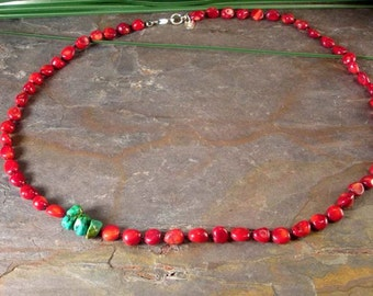 Red Coral and Turquoise Knotted on Silk Necklace