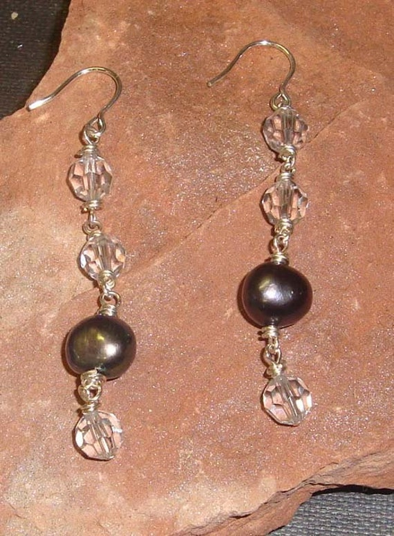Swarovski Crystal and Freshwater Pearl Ladder Earrings, Sterling Silver Earrings
