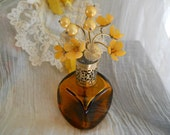 RESERVED vintage amber glass irice perfume atomizer bottle with rhinestone flower filigree top