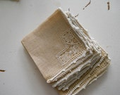 vintage flax embroidered  napkins set of 6, romantic prairie, rustic farmhouse, texture, oatmeal and cream, nubby weave