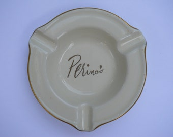 authentic vintage old hollywood souvenir perino's restaurant logo ashtray movie stars haunt made by hall china