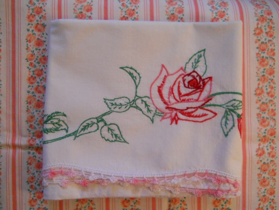 vintage pink rose embroidered pillow case with crochet edging