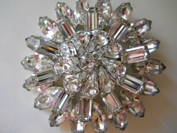RESERVED vintage signed weiss rhinestone brooch huge clear domed dimensional layered pin