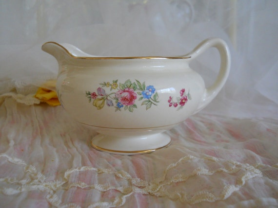 vintage cottage floral homer laughin china cream pitcher. pink roses, bluebells, forget me nots, jonquils, eggshell nautilus, pattern E46N5