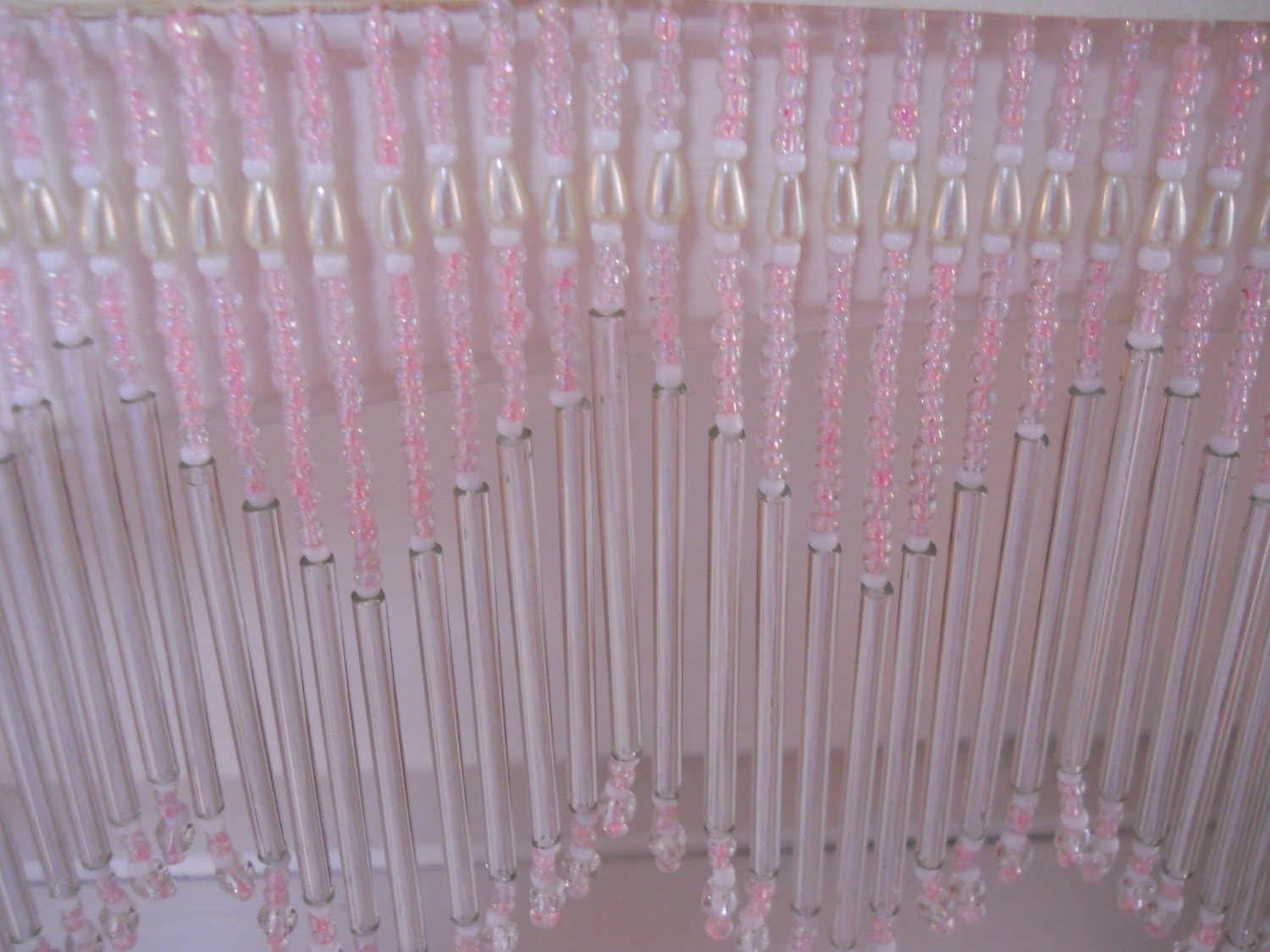 Glass Beaded Fringe Trim On Fabric Pink White And Pearl