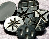 Carved Antique Buttons Black Glass Jet Victorian Mourning Group of 7 L407