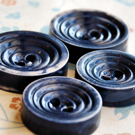 Vintage Buttons Buffed Celluloid Button Blue Small to Medium Set of 4 L371
