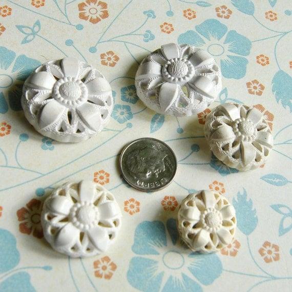 White Vintage Buttons Pierced Plastic Large Buttons Set of 5  L1096