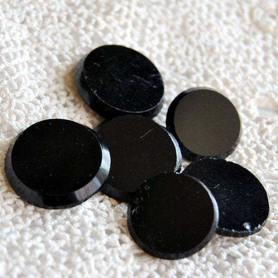 Mirror Antique Buttons Black Glass Jet Group of 6 L1054