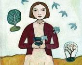 """Fine Art Print """"Release"""", woman, birds"""