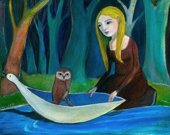 Greeting Card, The Visitor, owl, forest, woods